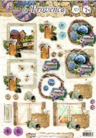 La Provence Bees & Flowers Die Cut 3d Decoupage Sheet From Studio Light